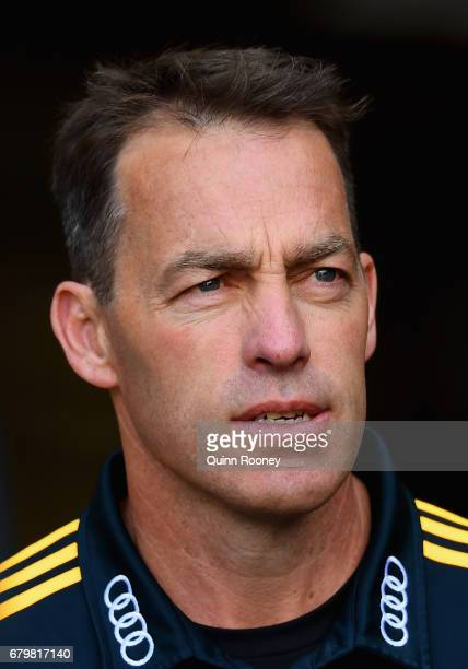Hawks head coach Alastair Clarkson looks on during the round seven AFL match between the Melbourne Demons and the Hawthorn Hawks at Melbourne Cricket...