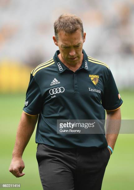 Hawks head coach Alastair Clarkson looks on during the round two AFL match between the Hawthorn Hawks and the Adelaide Crows at Melbourne Cricket...