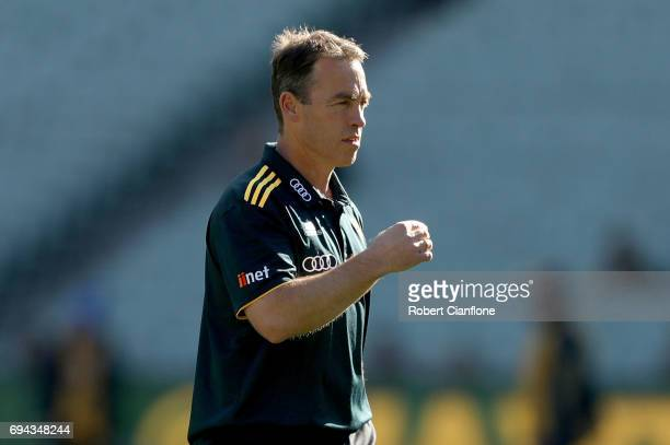 Hawks head coach Alastair Clarkson looks on during the warm up session for the round 12 AFL match between the Hawthorn Hawks and the Gold Coast Suns...