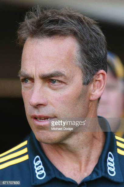 Hawks head coach Alastair Clarkson looks upfield during the round five AFL match between the Hawthorn Hawks and the West Coast Eagles at Melbourne...