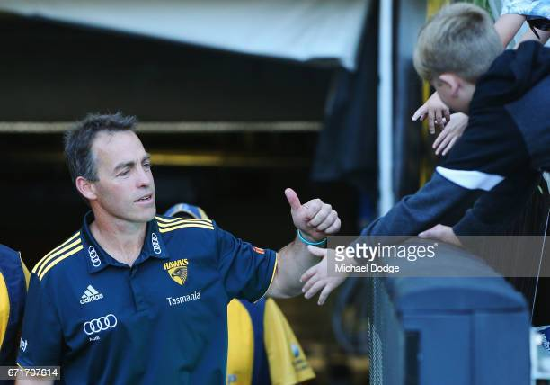 Hawks head coach Alastair Clarkson reacts to fans during the round five AFL match between the Hawthorn Hawks and the West Coast Eagles at Melbourne...