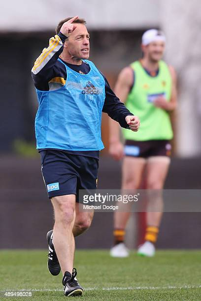 Hawks head coach Alastair Clarkson shouts and gestures during a Hawthorn Hawks AFL training session at Waverley Park on September 22 2015 in...