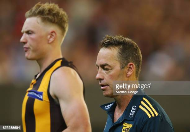 Hawks head coach Alastair Clarkson walks off at at three quarter time during the round one AFL match between the Essendon Bombers and the Hawthorn...