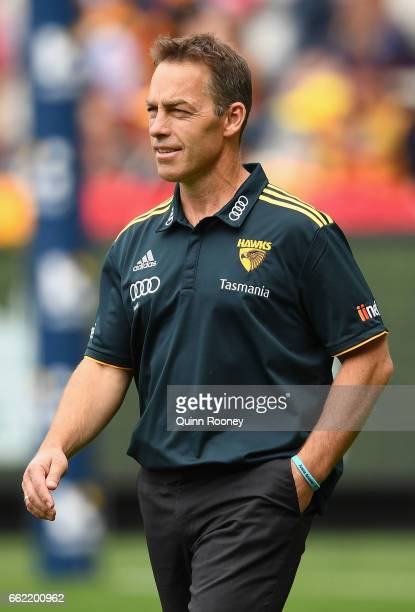 Hawks head coach Alastair Clarkson walks out onto the field during the round two AFL match between the Hawthorn Hawks and the Adelaide Crows at...