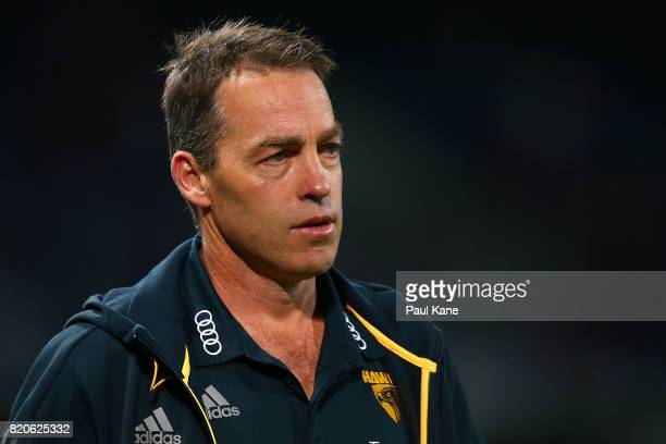 Hawks head coach Alastair Clarkson walks to the changerooms at the half time break during the round 18 AFL match between the Fremantle Dockers and...