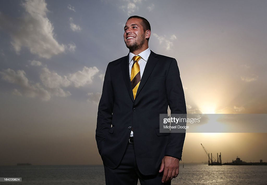 Hawks player <a gi-track='captionPersonalityLinkClicked' href=/galleries/search?phrase=Lance+Franklin&family=editorial&specificpeople=561332 ng-click='$event.stopPropagation()'>Lance Franklin</a> poses during the Hawthorn Hawks Season Launch and Hall of Fame presentation at Encore St Kilda on March 21, 2013 in Melbourne, Australia.