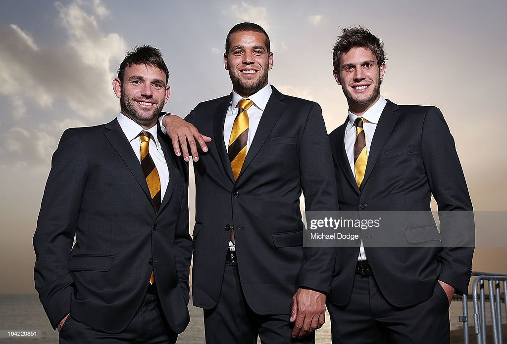 Hawks players Brent Guerra, Lance Franklin and Grant Birchall pose during the Hawthorn Hawks Season Launch and Hall of Fame presentation at Encore St Kilda on March 21, 2013 in Melbourne, Australia.