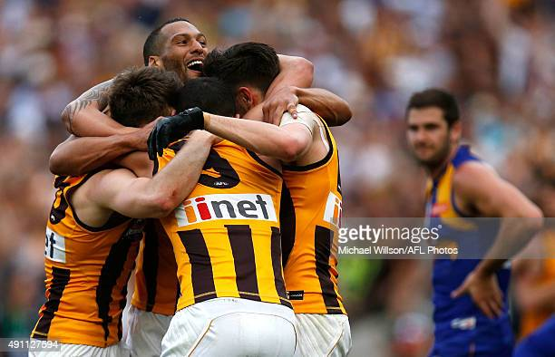 Hawks players celebrate as the final siren sounds during the 2015 Toyota AFL Grand Final match between the Hawthorn Hawks and the West Coast Eagles...