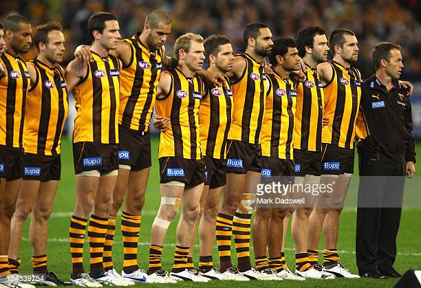 Hawks players line up for the National Anthem prior to the AFL Second Qualifying match between the Geelong Cats and the Hawthorn Hawks at Melbourne...