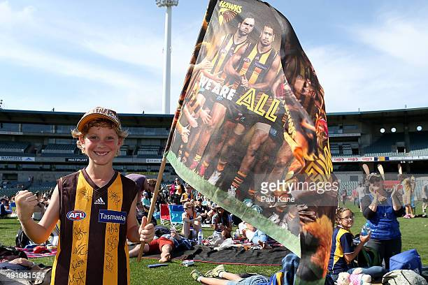 Hawks supporter celebrates after watching his team win on the big screen during 2015 AFL Grand Final between the West Coast Eagles and the Hawthorn...