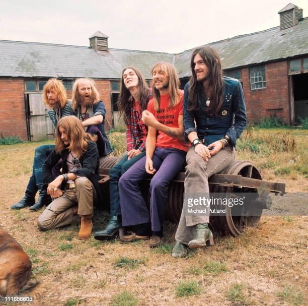Hawkwind group portrait circa 1973 LR Nik Turner Dik Mik Del Dettmar Simon King Dave Brock Lemmy