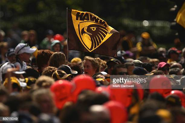 Hawthorn flag is waved by a fan during the 2008 AFL Grand Final parade held at the Treasury Building September 26 2008 in Melbourne Australia