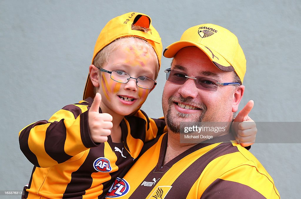 Hawthorn Hawks fans show their support during the round three NAB Cup AFL match between the Hawthorn Hawks and the Richmond Tigers at Aurora Stadium on March 9, 2013 in Launceston, Australia.