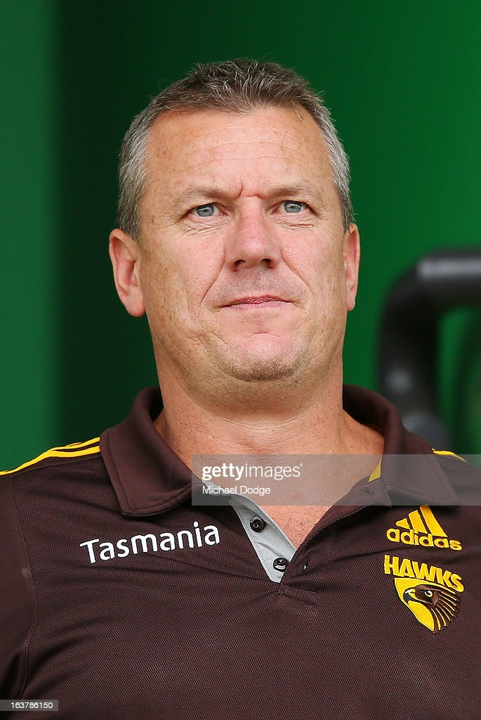 Hawthorn Hawks Football manager Mark Evans looks ahead during the AFL NAB Cup match between the North Melbourne Kangaroos and the Hawthorn Hawks at Highgate Recreational Reserve on March 16, 2013 in Craigieburn, Australia.