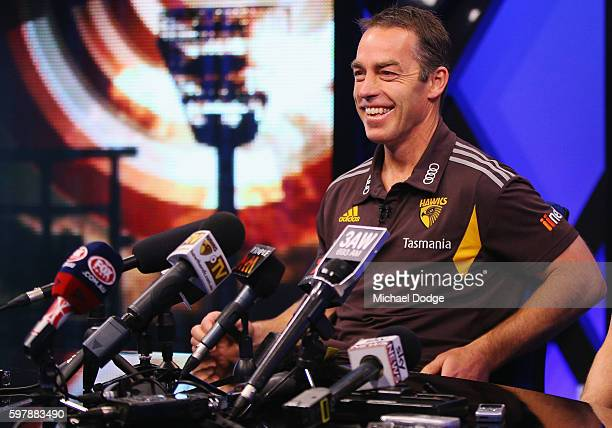 Hawthorn Hawks head coach Alastair Clarkson reacts as he speaks to the media during an AFL Finals media opportunity at Fox Studios on August 30 2016...