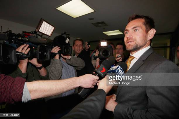 Hawthorn Hawks player Luke Hodge speaks to media at the AFL Tribunal hearing into his striking charge at AFL House on August 1 2017 in Melbourne...