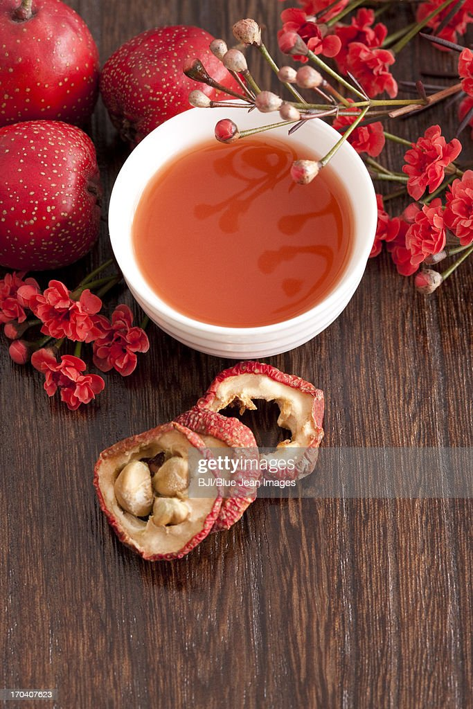 Hawthorne berry and juice : Stock Photo
