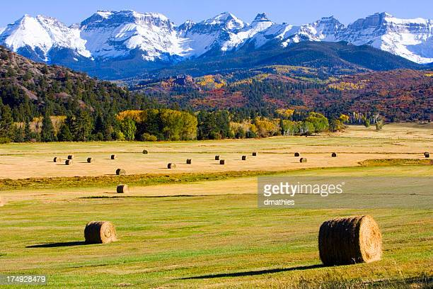 Hay bales below mountains