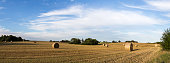 Panoramic view of hay bales on a field on the countryside in Denmark