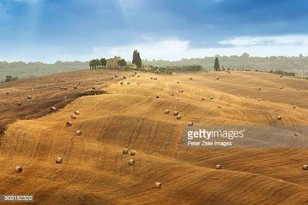 Hay bales on the fields of Val d'Orcia (Tuscany, Italy)