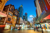 PERTH, AUSTRALIA - July 14, 2017: Hay Street, pedestrian shopping area in downtown Perth with popular boutiques such as the London Court shops