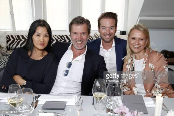 Hayah Juergens John Juergens Sebastian Hoeffner and Nova Meierhenrich during the Clos19 dinner on July 13 2017 in Munich Germany