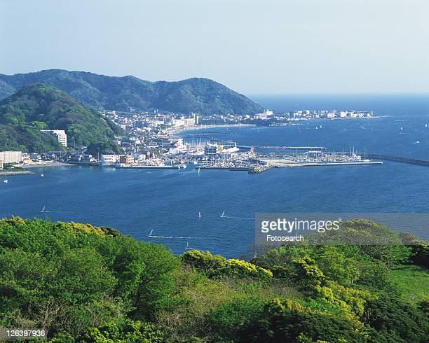 Hayama Beach and Zushi Beach, Shonan, Kanagawa Prefecture, Japan, High Angle View, Pan Focus