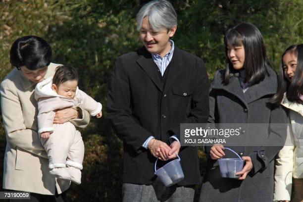 Japanese Princess Kiko with Prince Hisahito Prince Akishino their daughters Mako and Kako have a light moment at Shiosai Park in Hayama in Kanagawa...