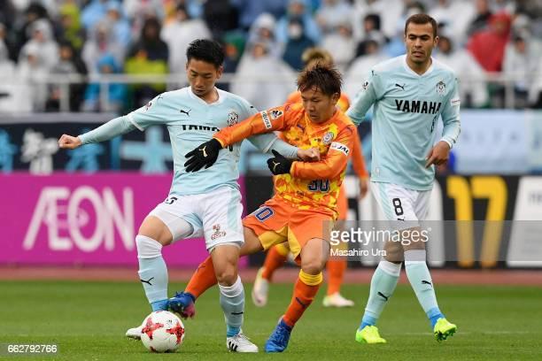 Hayao Kawabe of Jubilo Iwata and Shota Kaneko of Shimizu SPulse compete for the ball during the JLeague J1 match between Jubilo Iwata and Shimizu...