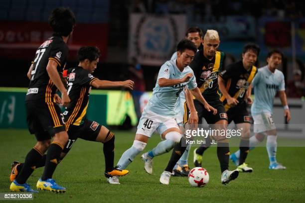 Hayao Kawabe of Jubilo Iwata competes for the ball against Vegalta Sendai defense during the JLeague J1 match between Vegalta Sendai and Jubilo Iwata...