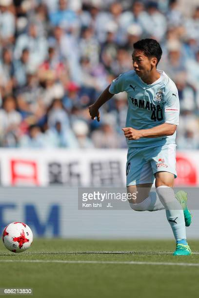 Hayao Kawabe of Jubilo Iwata in action during the JLeague J1 match between Jubilo Iwata and Kashiwa Reysol at Yamaha Stadium on May 20 2017 in Iwata...
