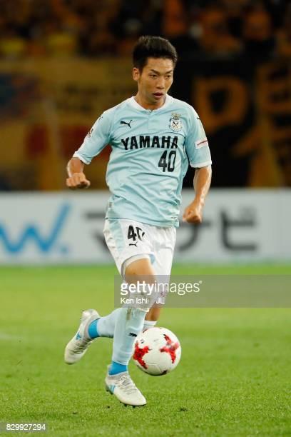 Hayao Kawabe of Jubilo Iwata in action during the JLeague J1 match between Vegalta Sendai and Jubilo Iwata at Yurtec Stadium Sendai on August 9 2017...