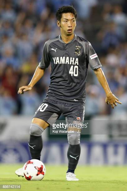 Hayao Kawabe of Jubilo Iwata in action during the JLeague J1 match between Jubilo Iwata and Cerezo Osaka at Yamaha Stadium on August 19 2017 in Iwata...