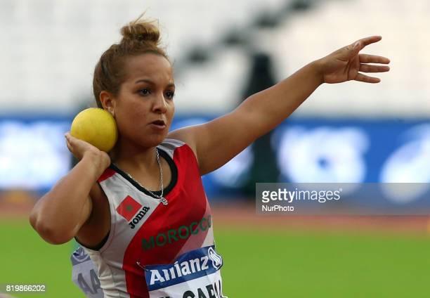 Hayat El Garaa of Morocco compete Women's Shot Put F41 Final during World Para Athletics Championships at London Stadium in London on July 19 2017