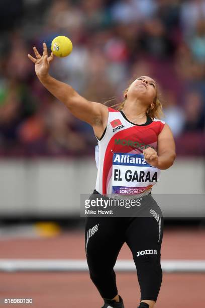 Hayat El Garaa of Morocco competes in the Women's Shot Put F41 Final during Day Six of the IPC World ParaAthletics Championships 2017 London at...