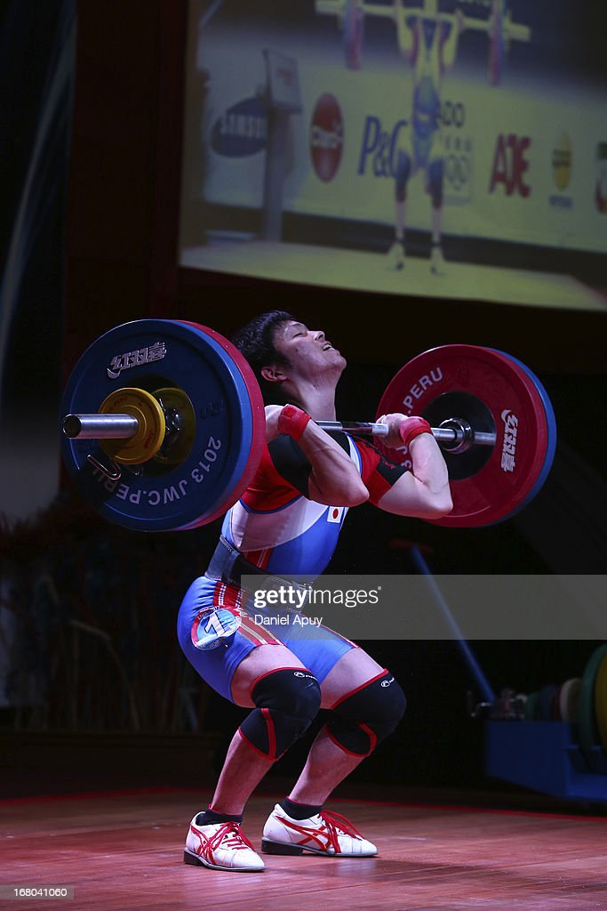 Hayato Hirai of Japan B competes in the Men's 56kg during day one of the 2013 Junior Weightlifting World Championship at Maria Angola Convention Center on April 04, 2013 in Lima, Peru.
