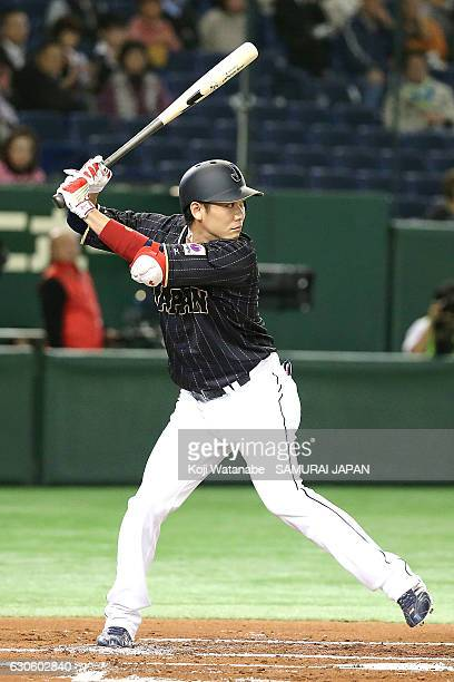 Hayato Sakamoto of Japan bats during the international friendly match between Mexico and Japan at the Tokyo Dome on November 11 2016 in Tokyo Japan