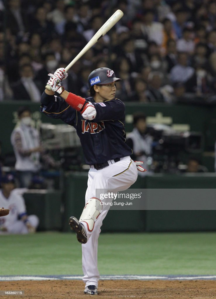 Hayato Sakamoto # 6 of Japan bats in the sixth inning during the World Baseball Classic Second Round Pool 1 game between Japan and Chinese Taipei at Tokyo Dome on March 8, 2013 in Tokyo, Japan.