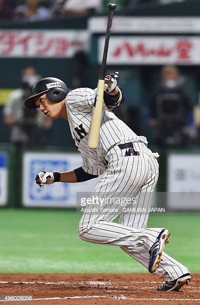 Hayato Sakamoto of Japan hits a single in the bottom of the 9th inning during the sendoff friendly match for WBSC Premier 12 between Japan and Puerto...