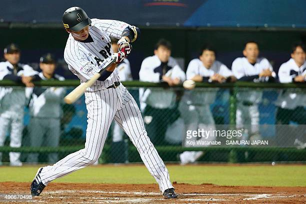 Hayato Sakamoto of Japan hits a single in the bottom of the third inning during the WBSC Premier 12 match between Mexico and Japan at the Tianmu...