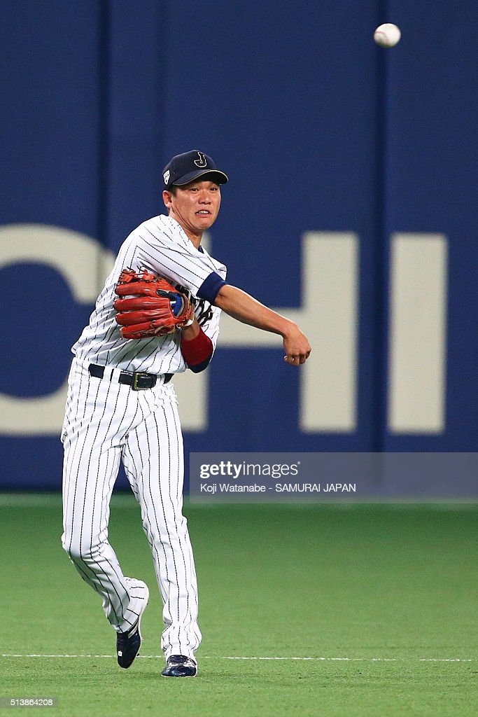 Hayato Sakamoto #6 of Japan in action during the international friendly match between Japan and Chinese Taipei at the Nagoya Dome on March 5, 2016 in Nagoya, Aichi, Japan.