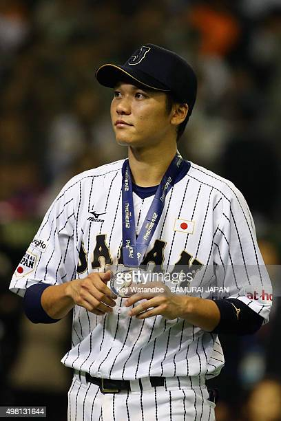 Hayato Sakamoto of Japan is seen after winning the WBSC Premier 12 third place play off match between Japan and Mexico at the Tokyo Dome on November...