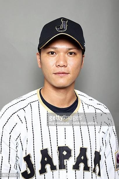 Hayato Sakamoto of Japan poses for photographs during the Japan national baseball team portrait session on November 5 2016 in Tokyo Japan