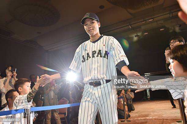 Hayato Sakamoto of Samurai Japan attends a farewell party at Fukuoka Dome on November 3 2015 in Fukuoka Japan