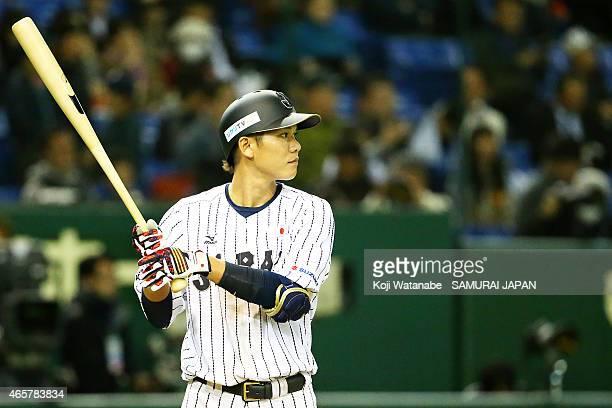 Hayato Sakamoto of Samurai Japan bats during Samurai Japan v All Euro match at the Tokyo Dome on March 10 2015 in Tokyo Japan