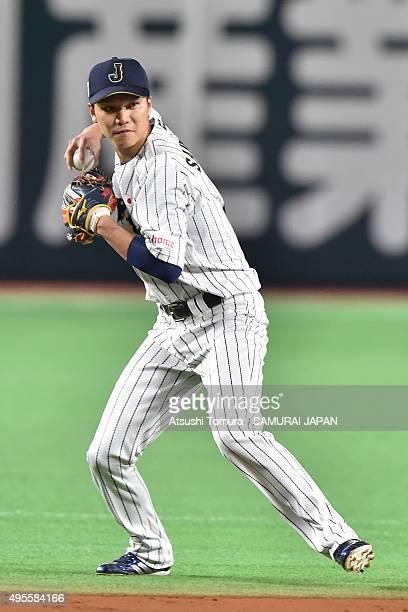 Hayato Sakamoto of Samurai Japan in action during a training session at Fukuoka Dome on November 4 2015 in Fukuoka Japan