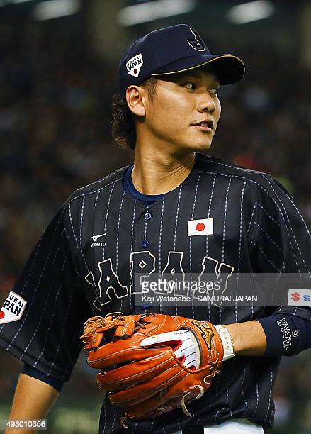 Hayato Sakamoto of Samurai Japan in action during the game two of Samurai Japan and MLB All Stars at Tokyo Dome on November 14 2014 in Tokyo Japan