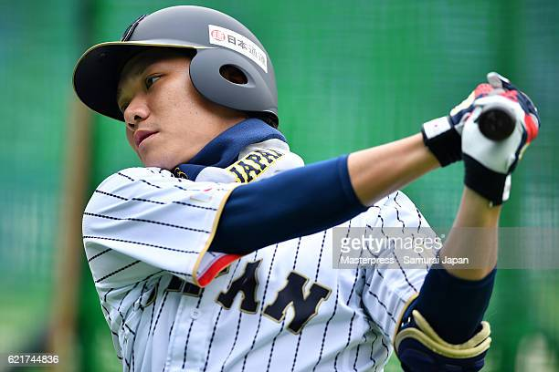 Hayato Sakamoto of SAMURAI JAPAN in action during the Japan national baseball team practice session at the QVC on November 8 2016 in Tokyo Japan