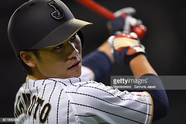Hayato Sakamoto of SAMURAI JAPAN in action during the Japan national baseball team practice session at the Tokyo Dome on November 9 2016 in Tokyo...