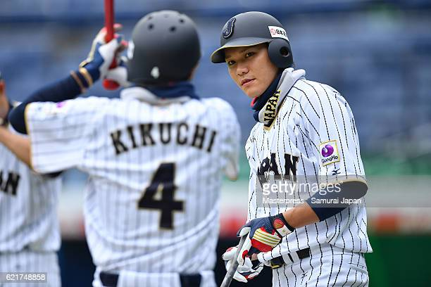Hayato Sakamoto of SAMURAI JAPAN looks on during the Japan national baseball team practice session at the QVC on November 8 2016 in Tokyo Japan